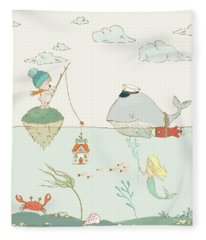 Fleece Blanket featuring the painting Whale And Bear In The Ocean Whimsical Art For Kids by Matthias Hauser