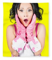 What A Mess Said The Shocked Cleaning Woman Fleece Blanket