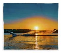 Wheelie On The Water Fleece Blanket
