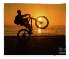 Wheelies At Sunset Fleece Blanket