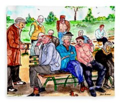 When Park Benches Were Filled With People Fleece Blanket