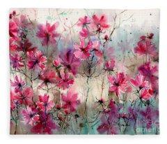 Where Pink Flowers Grew Fleece Blanket