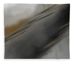 Whispered - Gray And Taupe Abstract Art Fleece Blanket