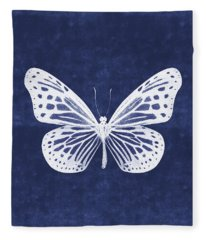 White And Indigo Butterfly- Art By Linda Woods Fleece Blanket