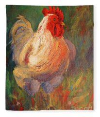 White And Red Chicken Against Green Fleece Blanket