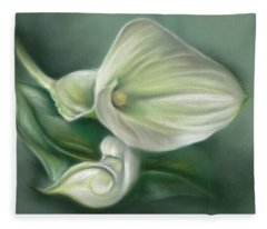 White Callas With Leaf Fleece Blanket