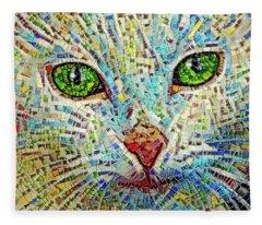 White Cat Mosaic Fleece Blanket