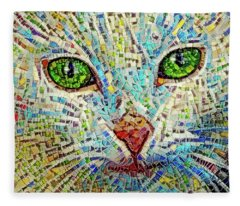 White Cat Mosaic Fleece Blanket
