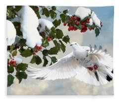 White Dove And Holly Fleece Blanket