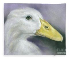 White Duck On Purple Fleece Blanket
