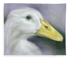 White Duck On Purple Fleece Blanket