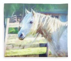 White Horse Fleece Blanket