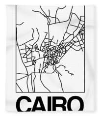 White Map Of Cairo Fleece Blanket