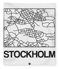 White Map Of Stockholm Fleece Blanket