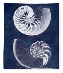White Nautilus On Blue Fleece Blanket