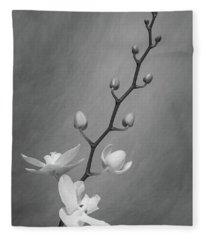 White Orchid Buds Fleece Blanket