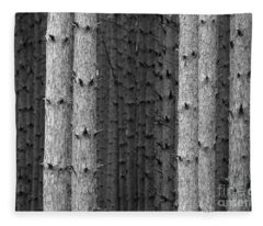 White Pines Black And White Fleece Blanket