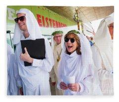 White Robed Bards At The Welsh National Eisteddfod Fleece Blanket