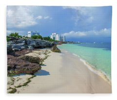 White Sandy Beach Of Cancun Fleece Blanket