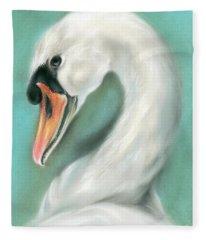 White Swan Portrait Fleece Blanket