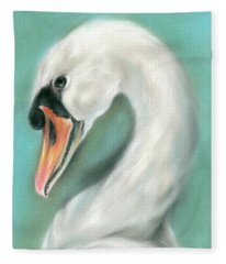 White Swan Portrait Fleece Blanket