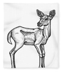 White Tailed Doe Fleece Blanket
