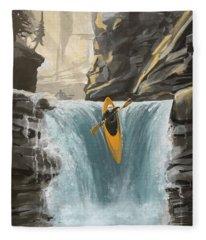 White Water Kayaking Fleece Blanket