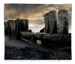Whitefish Point Michigan Breakers Fleece Blanket