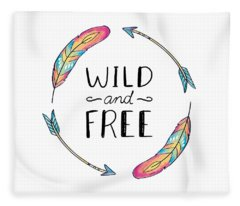 Wild And Free Colorful Feathers - Boho Chic Ethnic Nursery Art Poster Print Fleece Blanket
