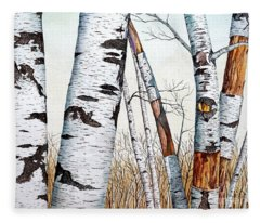Wild Birch Trees In The Forest In Watercolor Fleece Blanket