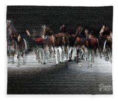 Wild Horses Under Spotlight Fleece Blanket