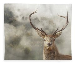 Fleece Blanket featuring the photograph Wild Nature - Stag by Andrea Kollo