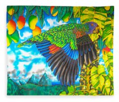 Wild Parrot Fleece Blanket