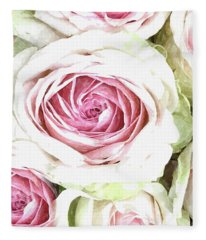 Wild Pink Roses Fleece Blanket
