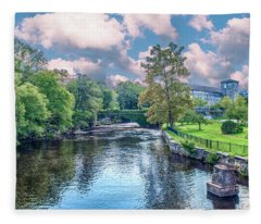 Willimantic River With Clouds Fleece Blanket