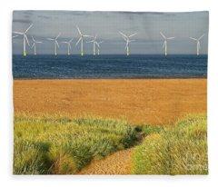 Wind Farm Off Shore Fleece Blanket