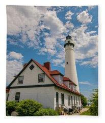 Wind Point Lighthouse No. 2 Fleece Blanket
