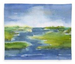 Winding Marsh Fleece Blanket