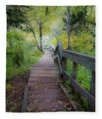 Winding Stairs In Autumn Fleece Blanket
