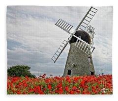 Windmill And Poppies Fleece Blanket