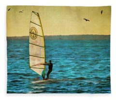 Windsurfer At Sunset Fleece Blanket