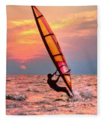 Windsurfing At Sunrise Fleece Blanket