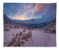 Windswept, Spring Sunrise In Tuckerman Ravine Fleece Blanket
