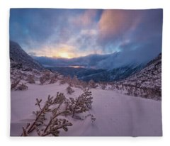 Windswept, Spring Sunrise In Tuckerman Ravine Fleece Blanket