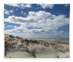 Windy Day At The Beach Fleece Blanket