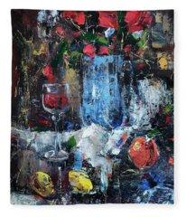 Wine And Fruits Fleece Blanket