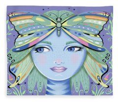 Insect Girl, Winga - Purple Fleece Blanket