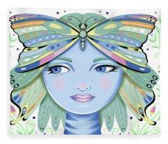 Insect Girl, Winga - White Fleece Blanket