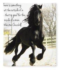 Winston Churchill Horse Quote Fleece Blanket