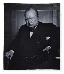 Winston Churchill In The Canadian Parliament Fleece Blanket